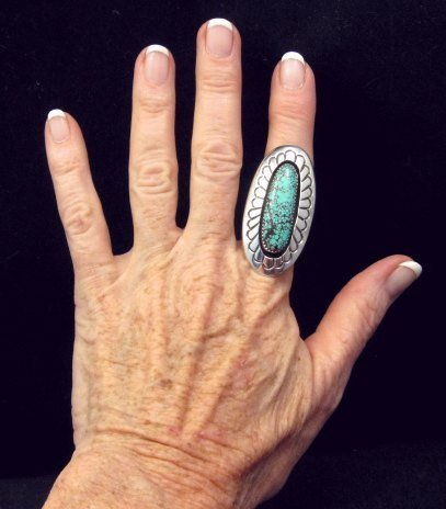 Image 2 of Long Navajo Indian Turquoise Shadowbox Ring sz7-3/4, Gene & Martha Jackson