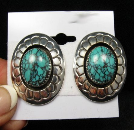 Image 0 of Navajo Native American Turquoise Shadowbox Earrings, Gene & Martha Jackson