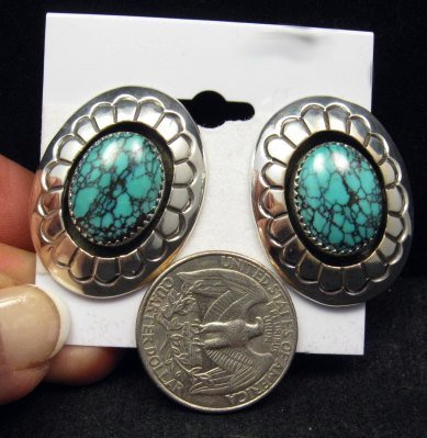 Image 1 of Navajo Native American Turquoise Shadowbox Earrings, Gene & Martha Jackson