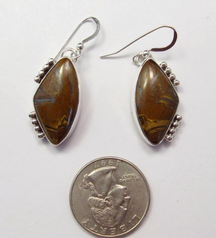 Image 1 of Gene & Martha Jackson Navajo Jasper Silver Dangle Earrings