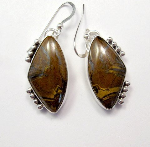 Image 0 of Gene & Martha Jackson Navajo Jasper Silver Dangle Earrings