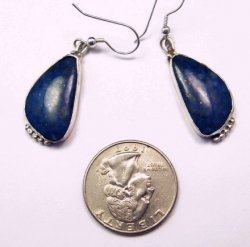 Navajo Native American Lapis Silver Dangle Earring