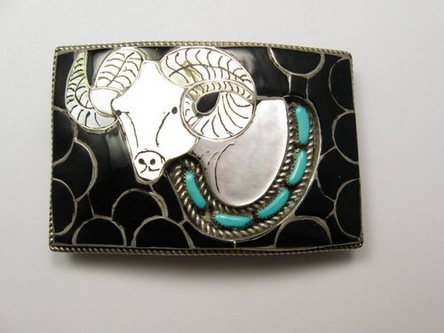 Image 0 of Vintage Zuni Native American Ram's Head Buckle, Ernest Zunie