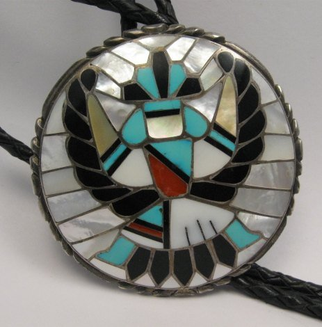 Image 0 of Dead Pawn Zuni Native American Inlaid Knifewing Bolo, R&L Kallestewa