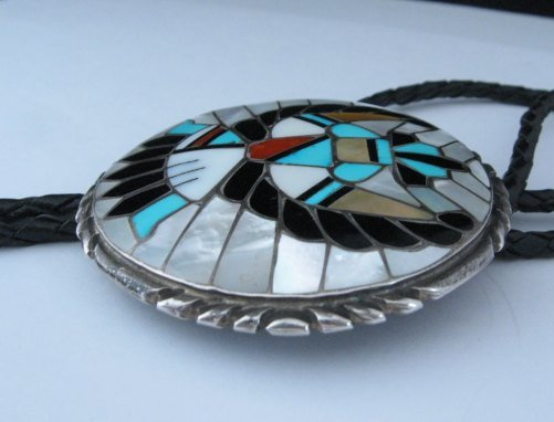 Image 1 of Dead Pawn Zuni Native American Inlaid Knifewing Bolo, R&L Kallestewa