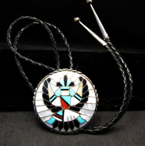 Image 2 of Dead Pawn Zuni Native American Inlaid Knifewing Bolo, R&L Kallestewa