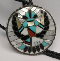 Dead Pawn Zuni Native American Inlaid Knifewing Bolo, R&L Kallestewa
