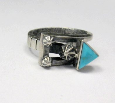 Image 5 of Native American Navajo Turquoise Silver Arrow Ring by Ronnie Henry, sz9-1/2