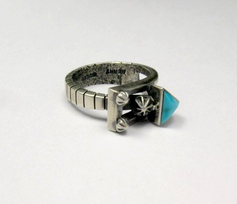 Image 0 of Native American Navajo Turquoise Silver Arrow Ring by Ronnie Henry, sz9-1/2
