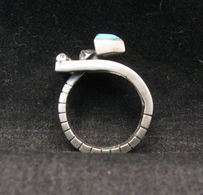 Image 1 of Native American Navajo Turquoise Silver Arrow Ring by Ronnie Henry, sz9-1/2