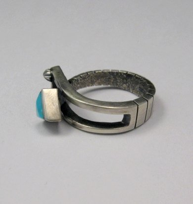 Image 3 of Native American Navajo Turquoise Silver Arrow Ring by Ronnie Henry, sz9-1/2
