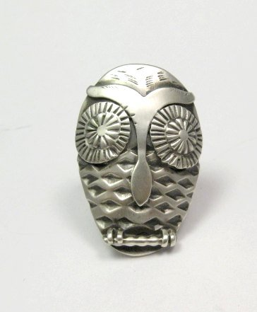 Image 0 of Whimsical Native American Indian Sterling Silver Owl Ring sz 5-1/2