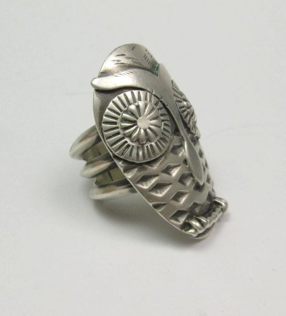 Image 1 of Whimsical Native American Indian Sterling Silver Owl Ring sz 5-1/2