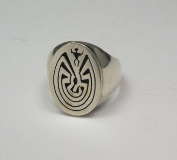 Image 1 of Native American Sterling Silver Man in the Maze Ring, Calvin Peterson sz9.5-sz11