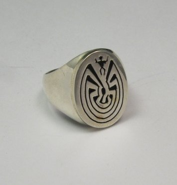 Image 2 of Native American Sterling Silver Man in the Maze Ring, Calvin Peterson sz9.5-sz11
