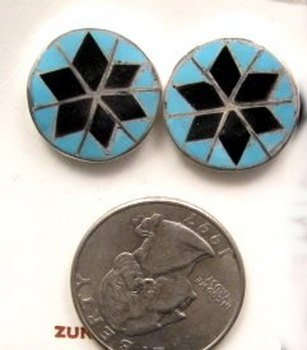 Image 0 of Zuni Native American Turquoise & Jet Inlay Earrings, Dena Chavez