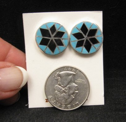 Image 1 of Zuni Native American Turquoise & Jet Inlay Earrings, Dena Chavez