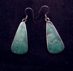 Native American Santo Domingo Turquoise Silver Earrings, James & Doris Coriz