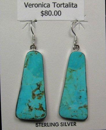 Image 0 of Native American Santo Domingo Turquoise Silver Earrings, Veronica Tortalita