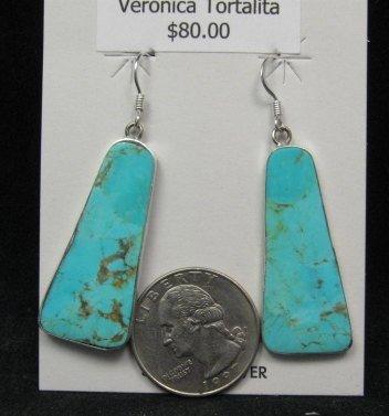 Image 1 of Native American Santo Domingo Turquoise Silver Earrings, Veronica Tortalita