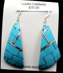 Large Santo Domingo Multi Inlaid Shell Earrings, Lupita Calabaza