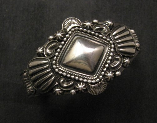 Image 0 of Navajo Repousse Stamped Sterling Silver Bracelet, Tsosie Orville White