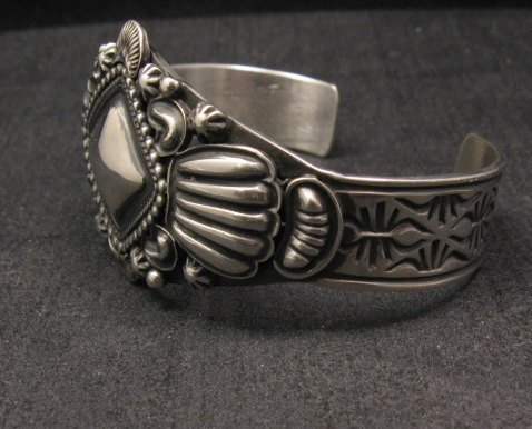 Image 2 of Navajo Repousse Stamped Sterling Silver Bracelet, Tsosie Orville White