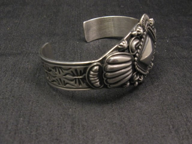 Image 4 of Navajo Repousse Stamped Sterling Silver Bracelet, Tsosie Orville White