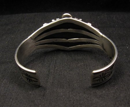 Image 5 of Navajo Repousse Stamped Sterling Silver Bracelet, Tsosie Orville White