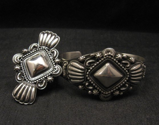 Image 6 of Navajo Repousse Stamped Sterling Silver Bracelet, Tsosie Orville White