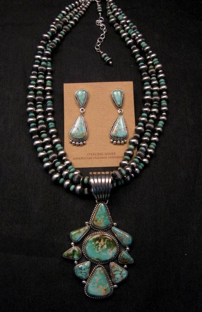 Image 0 of Navajo Royston Turquoise Sterling Bead Necklace Earring Set La Rose Ganadonegro