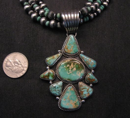 Image 1 of Navajo Royston Turquoise Sterling Bead Necklace Earring Set La Rose Ganadonegro