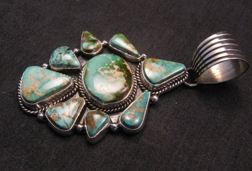 Image 2 of Navajo Royston Turquoise Sterling Bead Necklace Earring Set La Rose Ganadonegro