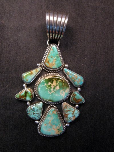 Image 3 of Navajo Royston Turquoise Sterling Bead Necklace Earring Set La Rose Ganadonegro