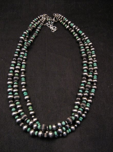 Image 4 of Navajo Royston Turquoise Sterling Bead Necklace Earring Set La Rose Ganadonegro
