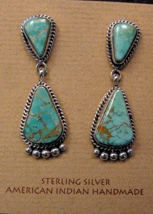 Image 5 of Navajo Royston Turquoise Sterling Bead Necklace Earring Set La Rose Ganadonegro