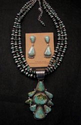 Navajo Royston Turquoise Sterling Bead Necklace Earring Set La Rose Ganadonegro