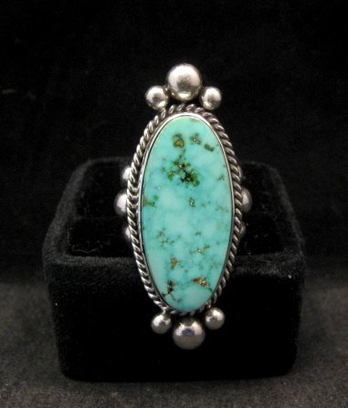 Image 0 of Long Native American Navajo ~ Guy Hoskie ~ Turquoise Sterling Ring sz8