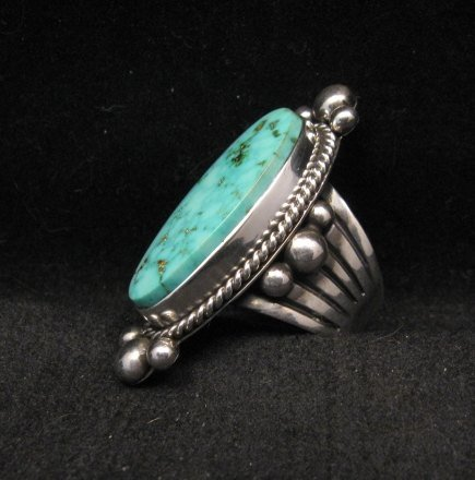 Image 1 of Long Native American Navajo ~ Guy Hoskie ~ Turquoise Sterling Ring sz8