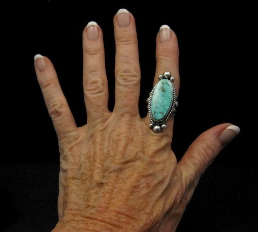Image 2 of Long Native American Navajo ~ Guy Hoskie ~ Turquoise Sterling Ring sz8