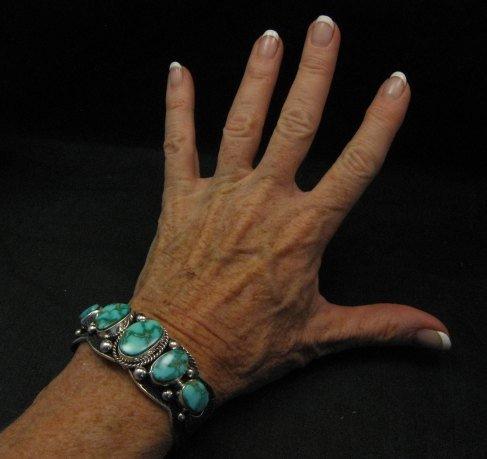 Image 1 of Navajo Native American Kingman Turquoise Silver Bracelet, Guy Hoskie