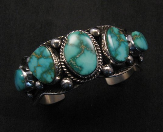 Image 2 of Navajo Native American Kingman Turquoise Silver Bracelet, Guy Hoskie