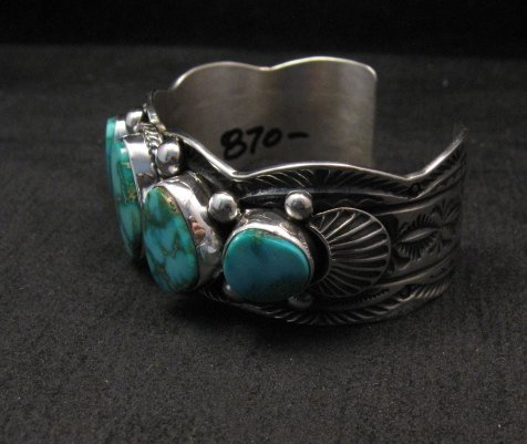 Image 3 of Navajo Native American Kingman Turquoise Silver Bracelet, Guy Hoskie