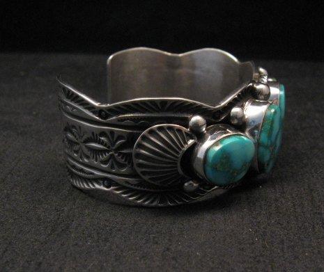 Image 4 of Navajo Native American Kingman Turquoise Silver Bracelet, Guy Hoskie