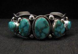Navajo Native American Kingman Turquoise Silver Bracelet, Guy Hoskie