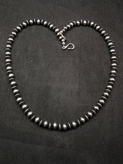 Image 2 of Native American Mixed Sterling Silver 7mm Bead Navajo Pearls Necklace 20-inch
