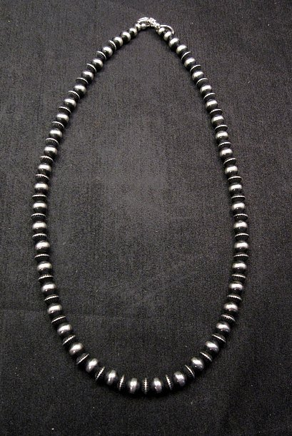 Image 0 of Native American Mixed Sterling Silver 7mm Bead Navajo Pearls Necklace 20-inch