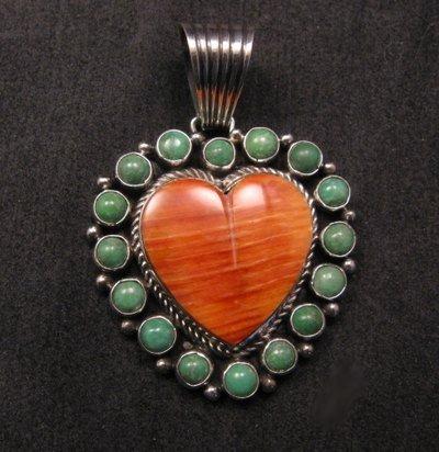 Image 0 of Navajo Kingman Turquoise Spiny Oyster Heart Pendant, Geneva Apachito