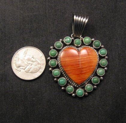 Image 1 of Navajo Kingman Turquoise Spiny Oyster Heart Pendant, Geneva Apachito