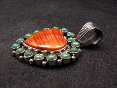 Image 2 of Navajo Kingman Turquoise Spiny Oyster Heart Pendant, Geneva Apachito